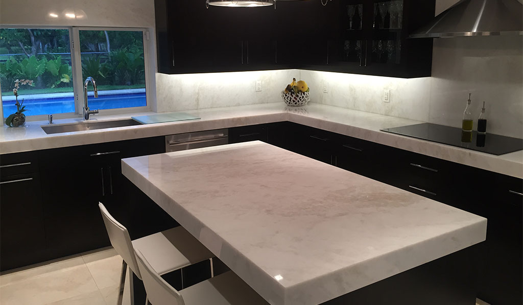 South Miami Kitchen Project White Marble Countertops